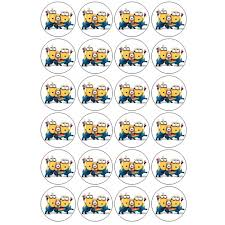 edible minions minions edible prints for cupcakes 24 pieces approx 4 5 cm