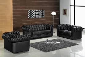 Chesterfield Sofa Set Black Chesterfield Sofa Set In The Modern Living Room With Modern
