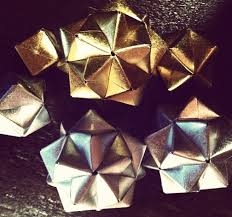 silver gold diy modular origami ornaments math