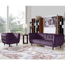 Fabric Sofa Set For Home Venice Button Tufted Sofa Set Purple Fabric 2 Pc Diamond Sofa