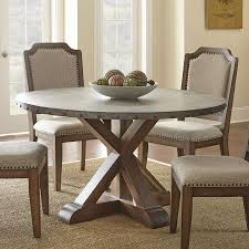 steve silver wayland zinc top round dining table in driftwood