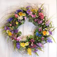 spring door wreaths colorful designer wildflower wreath with butterlfies spring