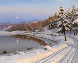 pattern landscape boris bessonov winter night moon lake mountain