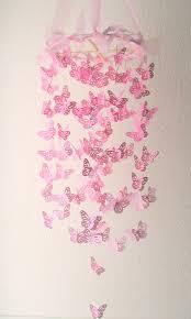 Childrens Pink Chandelier Pink Butterfly Chandelier Monarch Butterfly Chandelier Mobile