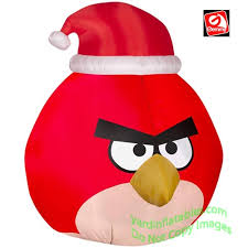christmas inflatables angry bird wearing santa hat