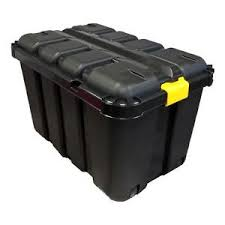 Plastic Tool Storage Containers - 145 litre tool storage box with v groove black plastic uk made
