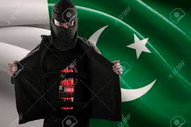 Pakistan Flag Picture Terrorism Concept Terrorist Showing A Time Bomb Sticking On