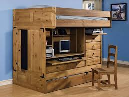 Amazon Com Bunk Bed All In 1 Loft With Trundle Desk Chest Closet by Wood Loft Bed With Desk And Trundle Ktactical Decoration