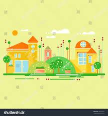 cute little house cartoon landscape cute little houses vector stock vector 384050734