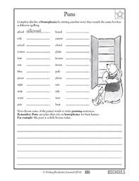 5th grade writing worksheets homophones fun with puns greatschools