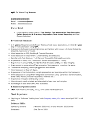 brief resume format 1 year experience resume format for manual testing dalarcon com sample resume format resume for your job application