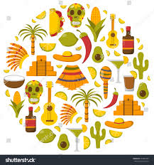 cartoon margarita vector cartoon illustration mexico background sombrero stock