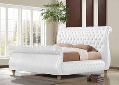 Tufted Sleigh Bed Burton Tufted Sleigh Bed White Bedroom Furniture Decor