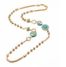 gold blue stone necklace images Elegant blue stone beaded long sweater pedant necklace wholesale jpg