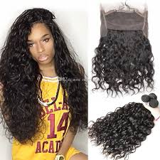 wave sew in 360 frontal with bundles water wave indian hair with
