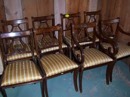 mahogany lyre back dining chairs federal sheraton style set of 8