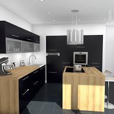 bloc central cuisine cuisine porte effet touch ginko noir mat cuisine