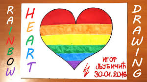 how to draw a rainbow heart easy for kids and color a heart