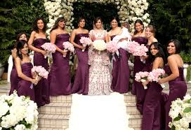 purple bridesmaid dresses inside weddings