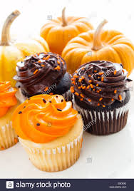 orange black halloween background halloween orange and black cupcakes on white background stock