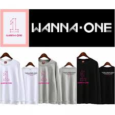 wanna one big pink logo all members names sweatshirt sweater