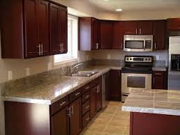 granite countertop red gloss kitchen cabinets backsplash tile in