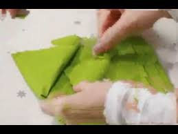 how to make christmas tree napkin fold table decorations youtube