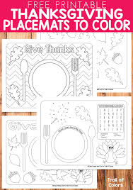 free printable thanksgiving placemats to color trail of colors