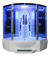 bathroom fancy contemporary steam shower unit with blue lights
