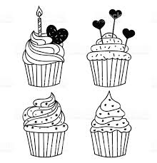 share download cartoon cupcake with candle coloring page stock