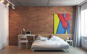bedroom with brown wallpaper decorating room ideas general bedrooms with exposed brick walls