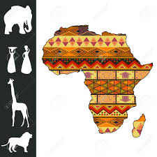 Africa Continent Map by Map Of Africa With Decorative Pattern And Silhouette Collection