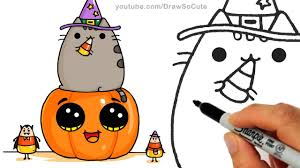 cute halloween images how to draw pusheen cat on pumpkin with candy corn step by step