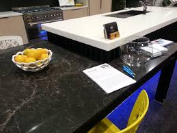 Kitchen Bench Surfaces Caesarstone Vanilla Noir Table And Laminex Solid Surface Stratus