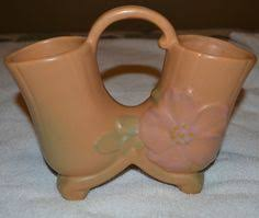 Weller Pottery Vase Patterns Vintage Weller Art Pottery Clinton Ivory Jardiniere Planter Rose