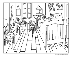 Chambre De Gogh - pour imprimer ce coloriage gratuit coloriage gogh chambre