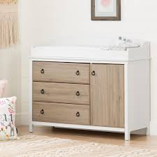 Change Tables South Shore Catimini 3 Drawer White And Rustic Oak Changing