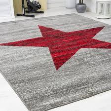 jugendzimmer teppich jugendzimmer teppich sternmuster in rot grau heatset r9121