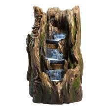 water fountain with lights 22 cypress log outdoor water fountain with led lights