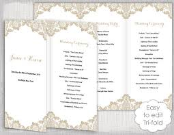tri fold program lace wedding program template antique lace diy