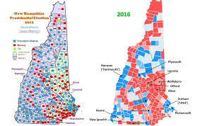 Nh County Map Red And Blue Map Of New Hampshire Nh For 2012 Town By Town