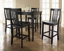 black counter height table set rustic pub table set white leather upholstery bar stools black and