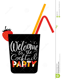 welcome to the cocktail party lettering cocktail glass silhouet