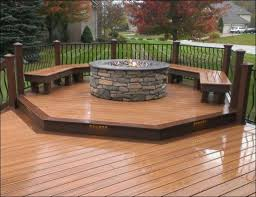Outdoor Deck Furniture by Modern Deck With Furniture And Square Fire Pit Warmth Your