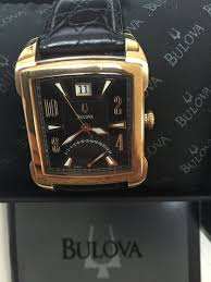 bulova 97b177 leather strap large watch ebay