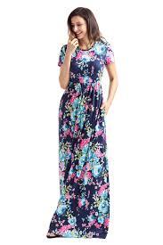 stylish pocket design short sleeve bright blue floral maxi dress