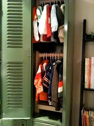 using lockers as baby closet apartment therapy