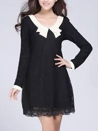 shift dress doll collar hollow out lace shift dress fashionmia