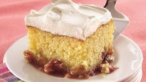 honey rhubarb cake recipe bettycrocker com