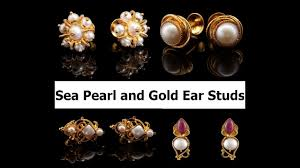 sea pearls and gold ear studs earrings designs